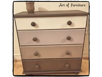 Pine Chest Of 4 Drawers Hand Painted in ANNIE SLOAN Honfleur Chalk Paint.