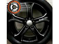 "17"" Custom Audi Techniks black silver almost new tyres."