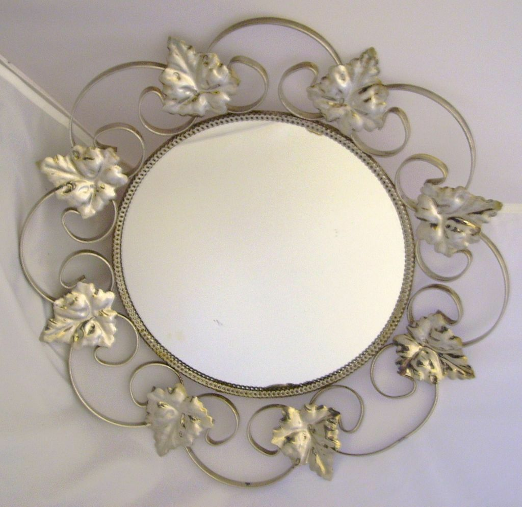 Vintage Retro 1960 S 70 Round Mirror Decorative Leaf Detail Good Cond