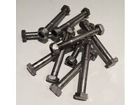 A2 Stainless steel M10 Bolts 110mm long Part threaded with Nyloc nuts