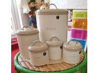 5 Piece Canister Set T, C, S B & Bread (Next)