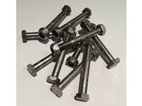 A2 Stainless steel M10 Bolts 80mm long Part threaded with Nyloc nuts