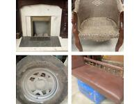 Clearance: Fire place, furniture, spare tyre