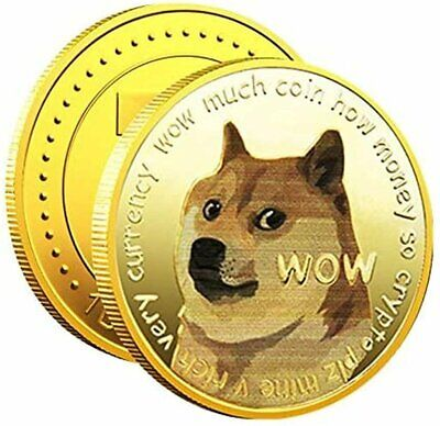 1x Gold Dogecoin Coins Commemorative 2021 New Collectors Gold Plated Doge Coin Entertainment Memorabilia