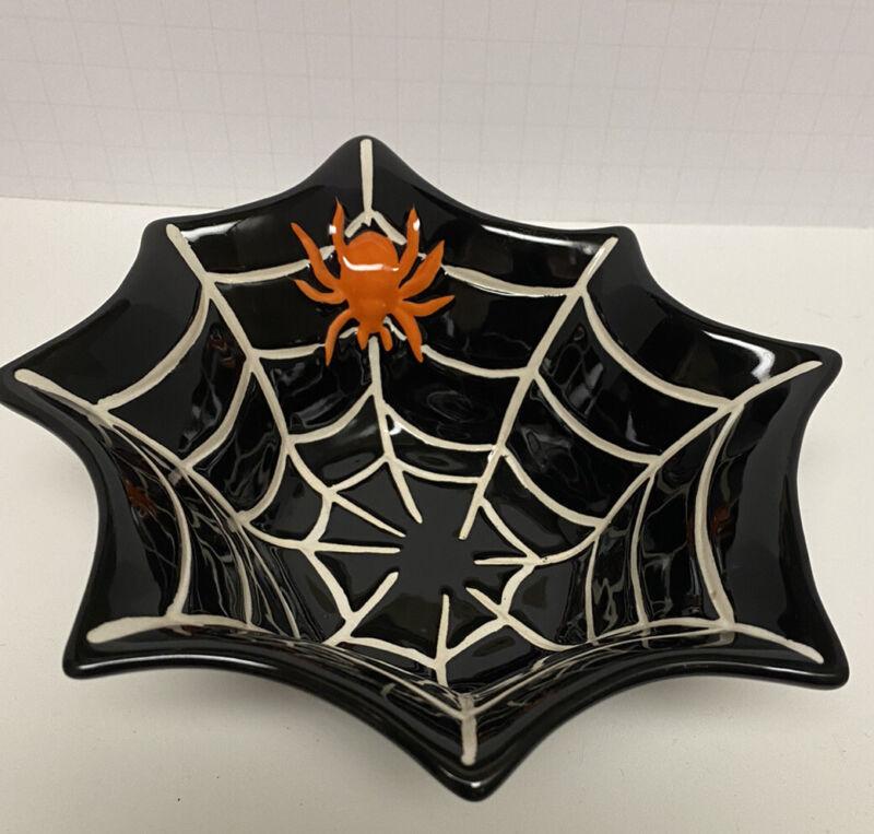 Halloween Orange Spider In Web Nut Candy Trinket Porcelain Dish