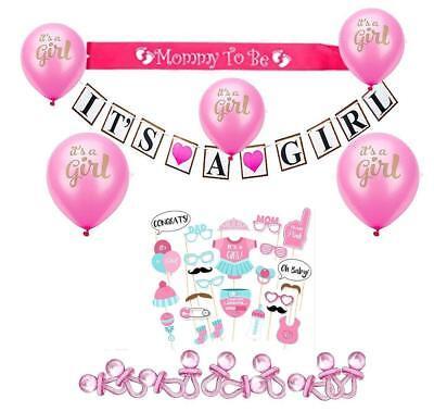 Bent Frame Baby Shower Decoration Kit for Girl 55+ pc Banner Poms Balloons - Shower Frame Kit