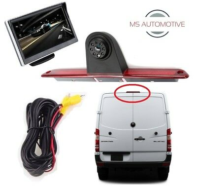"MERCEDES SPRINTER VW CRAFTER BRAKE LIGHT WIRED REVERSING REVERSE CAMERA 5"" LCD"