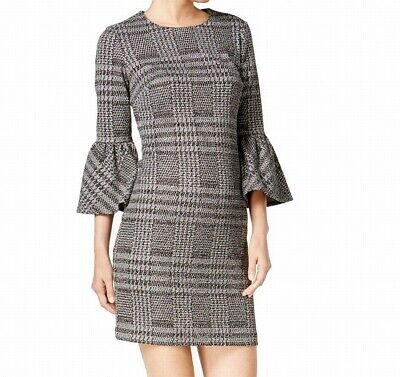 Calvin Klein Womens Sheath Dress Black Size 14 Bell Sleeve Textured $89- 214