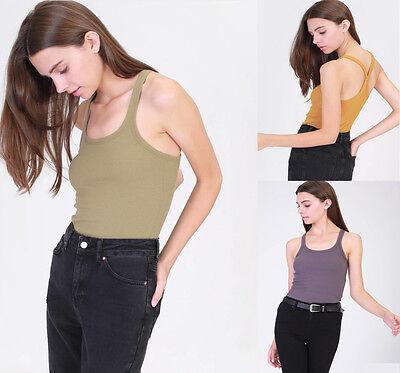 ( Womens Sleeveless Scoop Neck Racerback Cotton Ribbed Cami Tank Top Tee Shirt  )