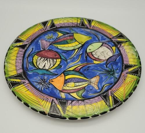 """PENELOPE PENZO 9"""" Plate Hand Painted In Zimbabwe Colorful Fish Signed 2001"""