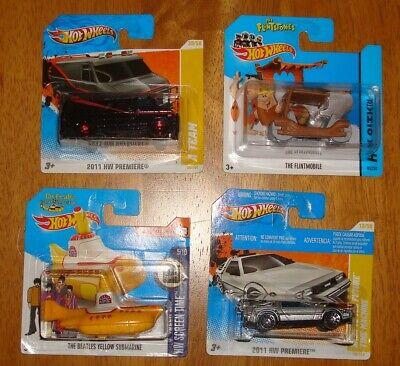 Hot Wheels Short card Lot  A-Team, Flintstones,Beatles Submarine, Knight Rider