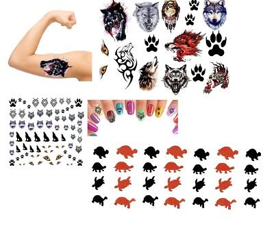 Wolf Collection  - Temporary Tattoo - Nail Art ](Wolf Nails)