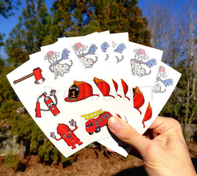 Fire Fighter Temporary Tattoos - 6 sheets (36 tattoos) Firefighter - Firefighting Tattoos
