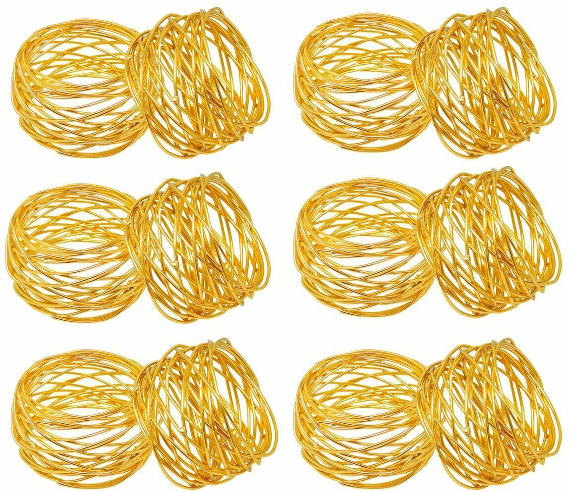 Golden Round Mesh Napkin Rings Holder for Dinning Table Parties Everyday