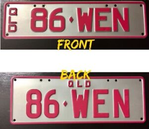 Personalised number plates (pink & silver) 86 WEN