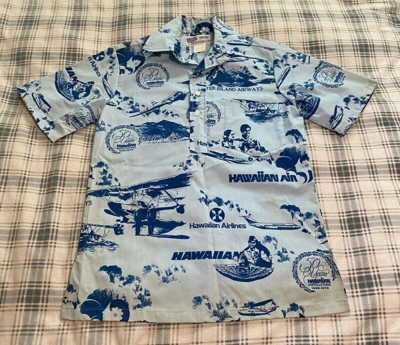 Vtg 1979 Hawaiian Airlines 50th Anniversary Aloha Shirt Small EXTREMELY RARE!