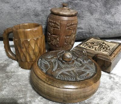 BUNDLE  4x Wooden Carved Design MUG, TABLE COASTERS, LIDDED JAR, LIDDED BOWL