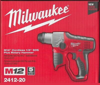 New Milwaukee M12 Lithium-ion Cordless 12 Sds Plus 12v Rotary Hammer 2412-20