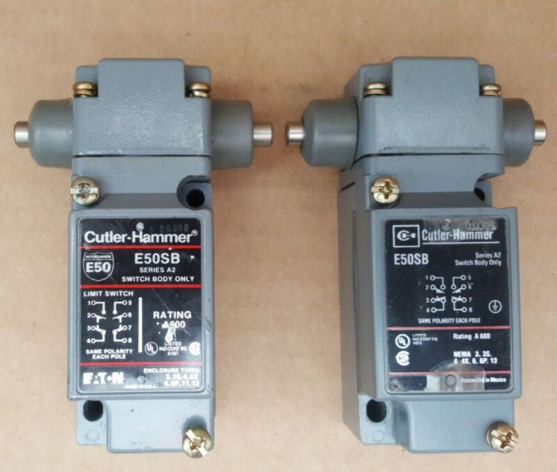"""Two Cutler Hammer Limit Switch E50BH1 600V Side Plunger Maint. 1/2"""" Conduit USA"""