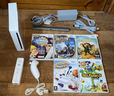 Nintendo Wii Console And Games Bundle Game Party Squeeballs Party +++