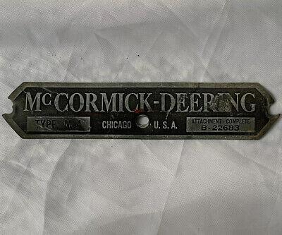 Mccormick Deering Original Nameplate Tag Farmall International Harvester Ih
