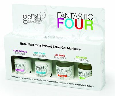 NEW Gelish Fantastic Four Soak-Off Gel Nail Polish Kit For LED Lamp | 01787