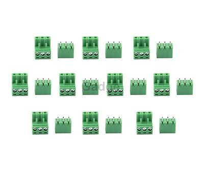 10x Phoenix Contact 3-Position 5.08MM PCB Board Screw Male Female Connectors