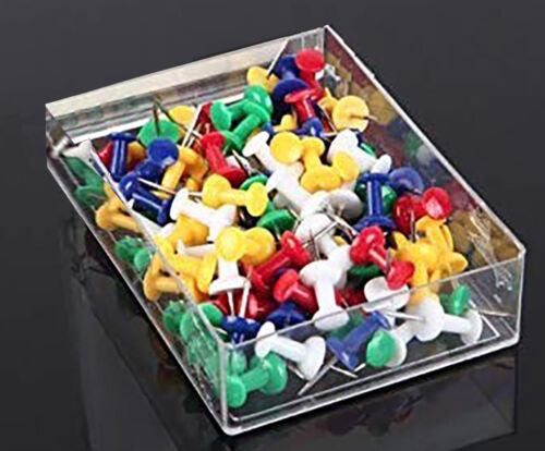 """200 PCS Push Pin Pins Thumb Tack Multi Color 3/8"""" Head For Office School Home"""