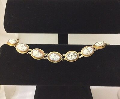 """14K Solid Yellow Gold Cameo Stone Bracelet 7"""""""