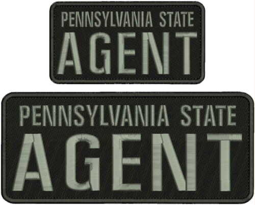 PA  state AGENT embroidery patches 4X10 and 3x6  hook on back BLACK/gray