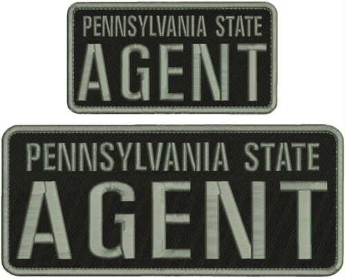 PENNSYLVANIA STATE AGENT EMB PATCH 4X10 & 3X6 HOOK ON BACK BLK/GRAY