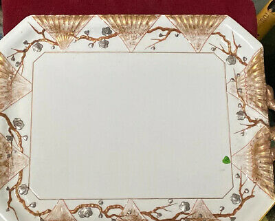 Aesthetic Movement Large Porcelain Tray With Bamboo,Branches and Fan Decoration