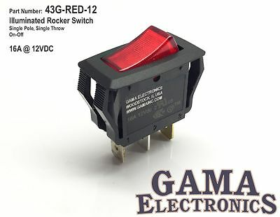 Red Illuminated Single Pole Off-on Rocker Switch 16a 12vdc - 43g-red-12