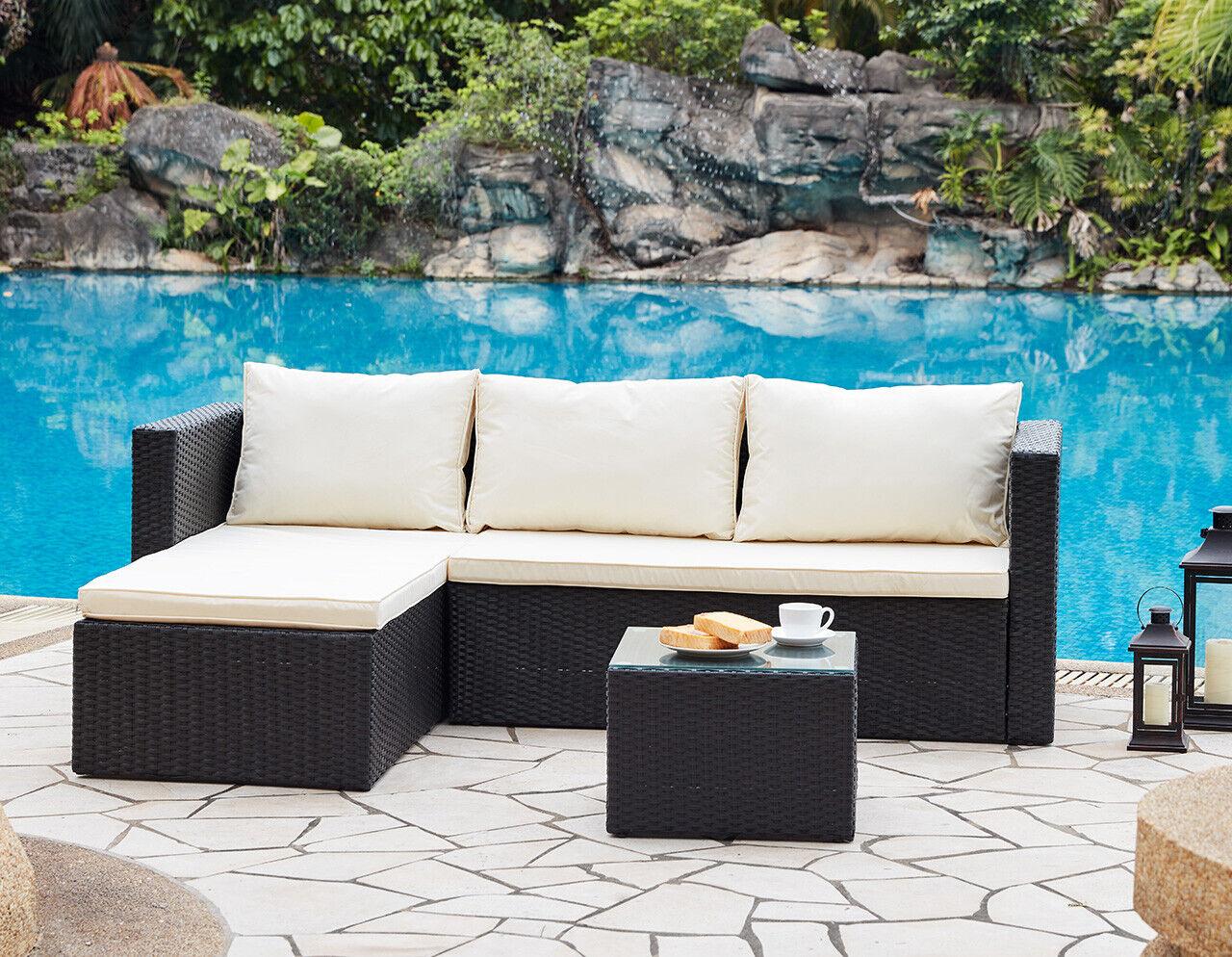 Garden Furniture - Outdoor Sofa Set Garden Furniture Black Grey or Dark Brown Table, Chaise, Sofa