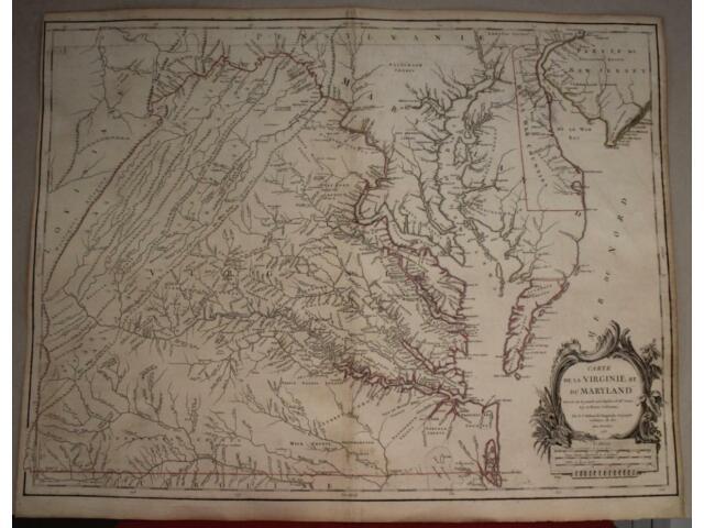 VIRGINIA & MARYLAND UNITED STATES 1755 ROBERT DE VAUGONDY ANTIQUE ORIGINAL MAP