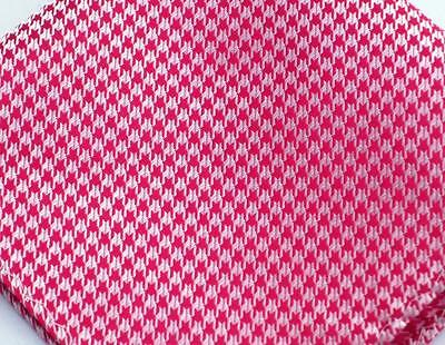 "US Seller New 10"" 100% Silk Pocket Square  Red Houndstooth"