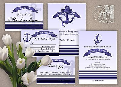 Personalised Wedding Evening Day Invitations Nautical Theme