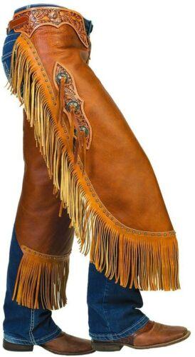 New Weaver Genuine Leather Pull-Up Fashion Chinks Floral Yoke Set Medium Sz M