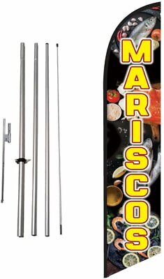 Mariscos Advertising Feather Banner Swooper Flag Sign With Flag Pole Kit And...