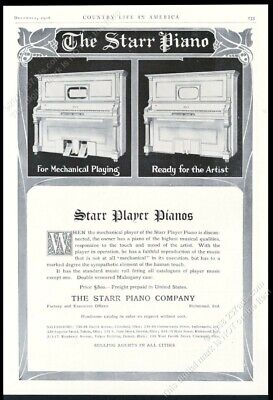 1906 Starr upright & player piano illustrated vintage print ad