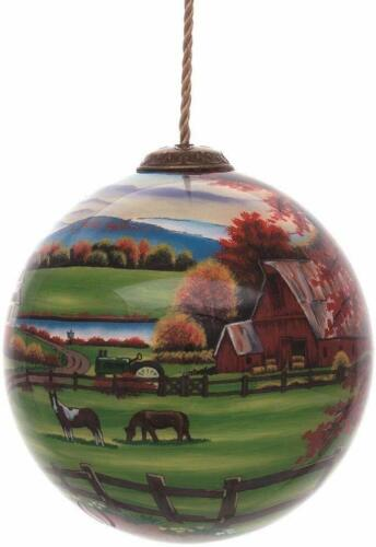 Peaceful Tranquility Ornament New Inner Beauty Horses Barn Glass No Box