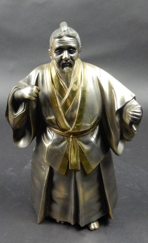 Antique Japanese Gilt Bronze And Silver Figure Of Elderly Samurai Man 10  Inches