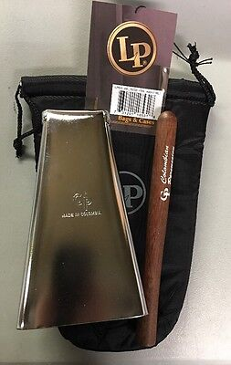 Hand Held Cowbell Chrome Salsa CP#1 With Stick & LP Cowbell Pouch.