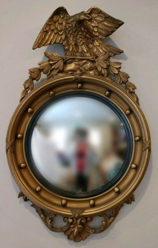 "Antique 19C Large Federal Carved Gilt Wood Eagle Bullseye Convex Mirror 35"""