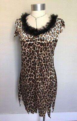 Rubies Costume Cave Woman Leopard Print Flintstones Dress Halloween Jungle S/M