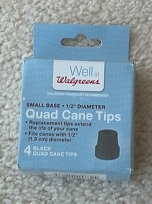 Walgreens Small Base Quad Cane Tips 1/2 Inch Diameter - Quad Cane Tips Small Base