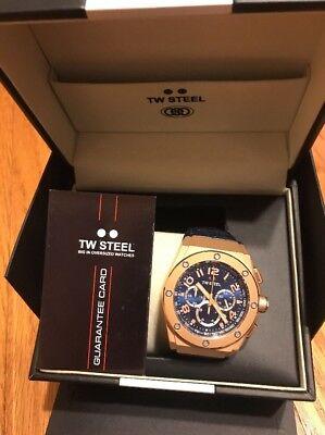 Tw Steel Ce4003 Mens Ceo Kivanc Blue Dial Chronograph Blue Leather Strap Watch