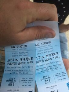 2 x Justin Bieber tickets Maitland Maitland Area Preview