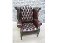 BRAND NEW CHESTERFIELD DEEP BUTTON WING CHAIR OXBLOOD