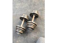 Dumbells 2 x 15kg - Standard Plates - Adjustable